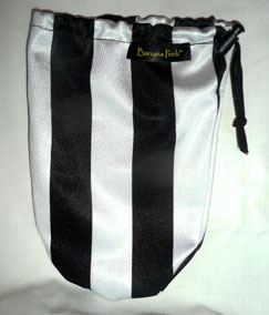 Black and White thick Striped lycra banana peelz bag