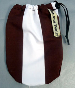 Brown and White Stripped banana peelz bag