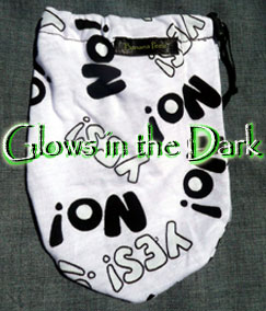 Glow in the Dark Yes and No on white banana peelz bag